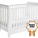 Babymore-Eva-Sleigh-Cot-Bed-Dropside-with-Drawer-White-Finish-FOAM-MATTRESS-0