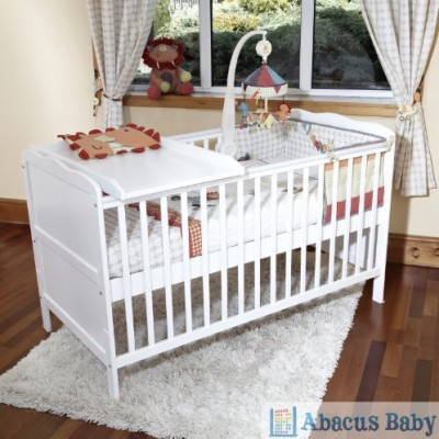 Cot-Bed-Sprung-Mattress-w-Cot-Top-Changer-Teething-Rails-White-0