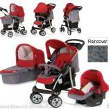 New-Hauck-shopper-trio-3in1-pushchair-buggy-pram-strollercarrycotcar-seatraincover-in-smoke-tango-redgrey-0