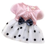 Toddler-Baby-Girls-Princess-Party-Bubble-Sleeve-Bowknot-Dot-Tulle-Dress-0
