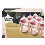 Tommee-Tippee-Closer-to-Nature-260-ml9fl-oz-Decorated-Feeding-Bottles-Pink6-pack-0-1