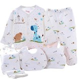 WANGSAURA-Baby-Infant-5pcs-Cotton-Clothing-Set-CapBibPajamas-SuitPantsNewborn-Caring-Gift-0-3-Months-Blue-0