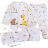 WANGSAURA-Baby-Infant-5pcs-Cotton-Clothing-Set-CapBibPajamas-SuitPantsNewborn-Caring-Gift-0-3-Months-Yellow-0