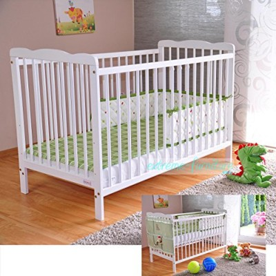 White-Solid-Wood-Baby-Cot-Bed-4-inch-Deluxe-Foam-Mattress--3-Position-Base-Heights--RRP190--FREE-UK-Delivery-0