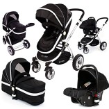 i-Safe-System-Black-Trio-Travel-System-Pram-Luxury-Stroller-3-in-1-Complete-With-Car-Seat-0