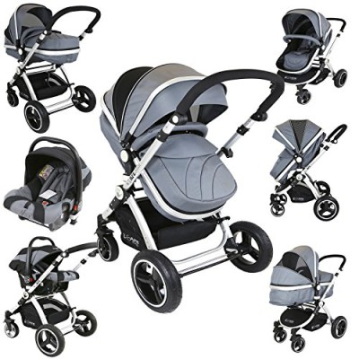 i-Safe-System-Grey-Trio-Travel-System-Pram-Luxury-Stroller-3-in-1-Complete-With-Car-Seat-0
